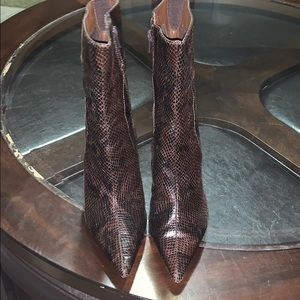 Brown snake skin booties